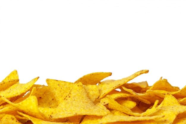 Corn nachos on white background Premium Photo