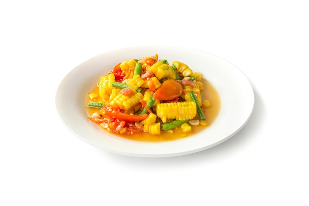 Corn spicy salad traditional spicy thai food side view isolated on white background Premium Photo