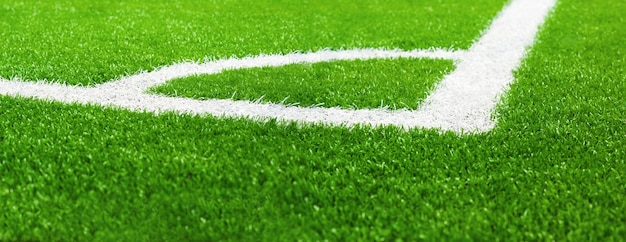 Corner of football field on artificial grass Premium Photo
