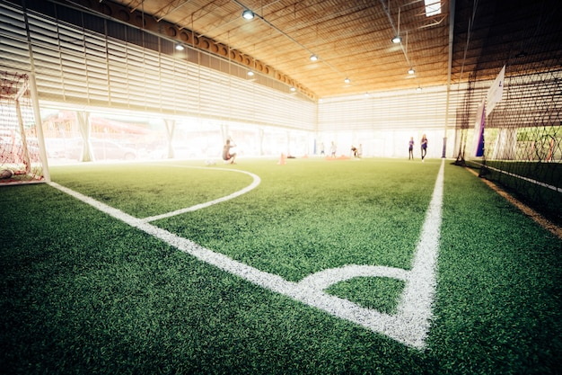 Corner line of an indoor football soccer training field Premium Photo