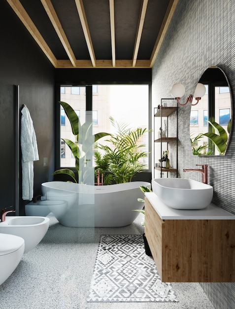 회색 타일 벽, 둥근 거울, 흰색 욕조 및 큰 창문이있는 호텔 욕실 코너. 3d 렌더링 프리미엄 사진