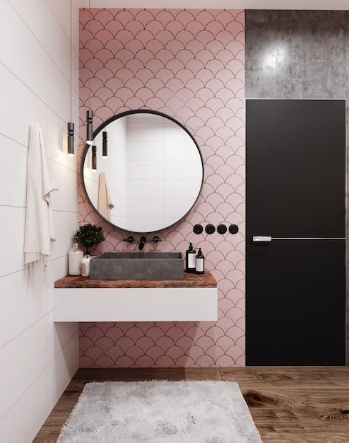 Уголок ванной комнаты отеля с розовыми плиточными стенами, большим зеркалом и серой раковиной. скандинавский стиль. 3d рендеринг Premium Фотографии