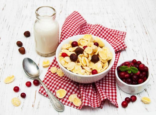 Cornflakes with milk Premium Photo