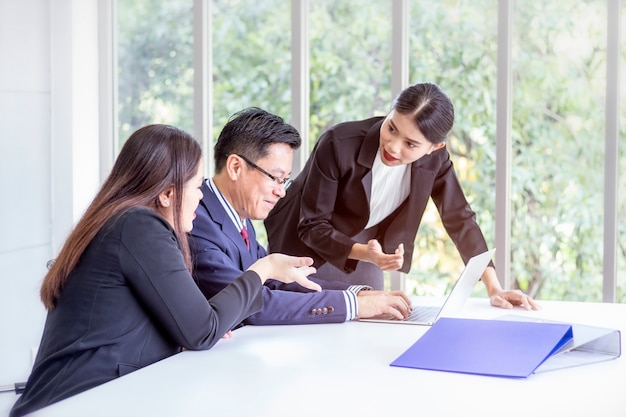 Corporate business team and manager discuss and share idea in a meeting. Premium Photo