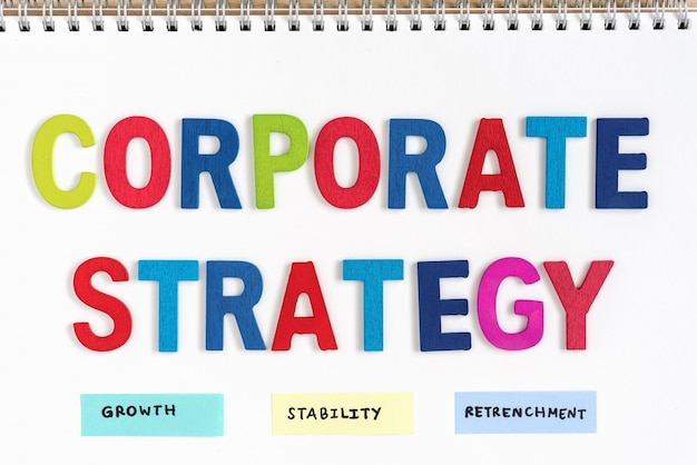 Corporate strategy definition on the notebook Free Photo