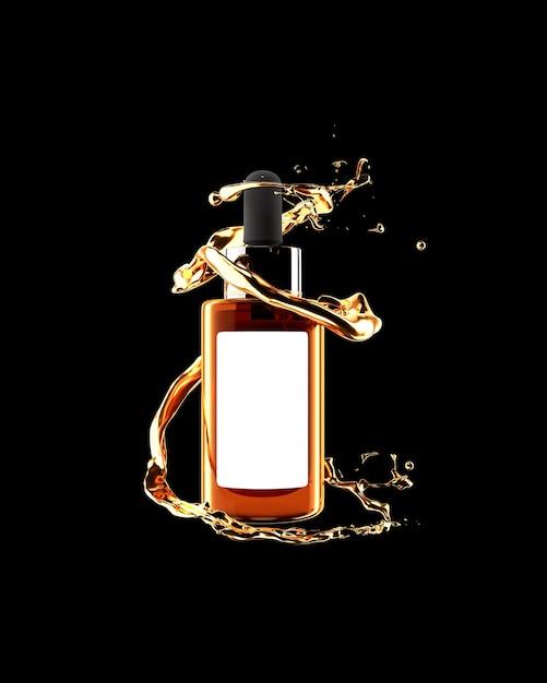 Cosmetic gold serum mockups 3d render Premium Photo