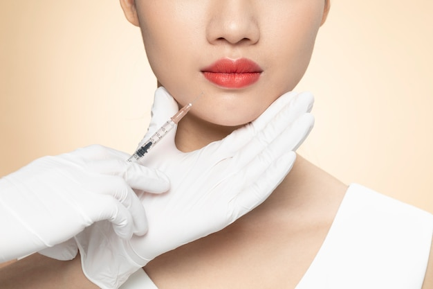 Cosmetic injection closeup Premium Photo