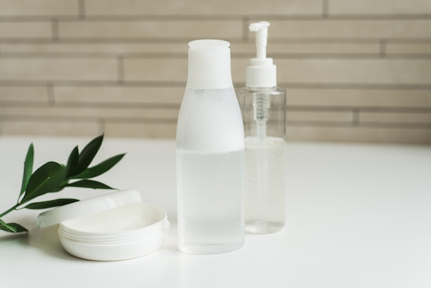 Cosmetic natural products for skin care. micellar gel, water to cleanse the skin and face cream Premium Photo