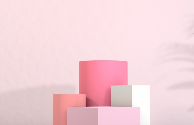 Cosmetic product display. fashion beauty pastel pink color background. Premium Photo