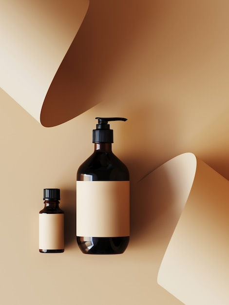 Cosmetic  for product presentation. cosmetic bottle on beige color paper roll . 3d rendering illustration. Premium Photo
