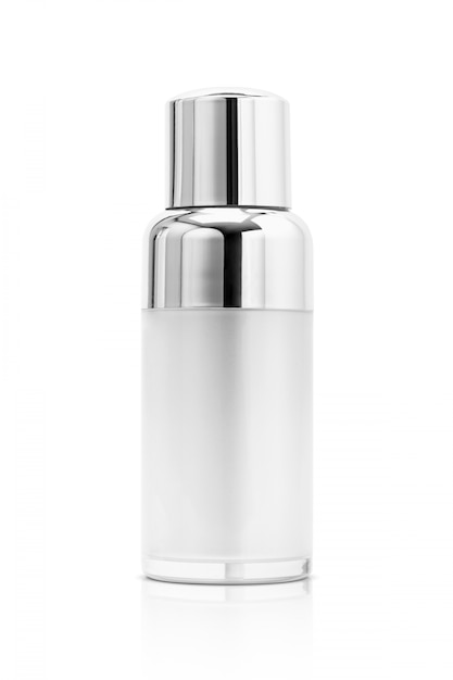 Cosmetic serum bottle with silver cover isolated Premium Photo