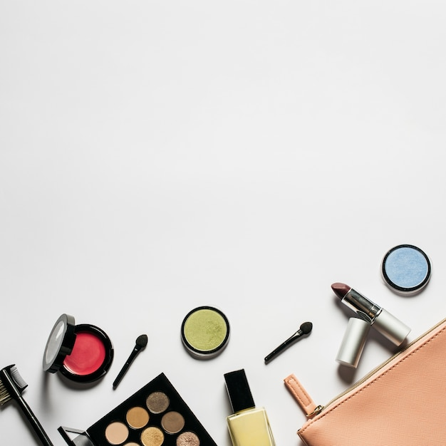 Cosmetics Composition With Space On Top Free Photo