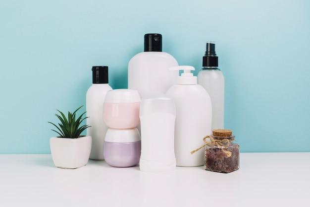 Cosmetici vasetti e bottiglie vicino alla pianta Foto Gratuite