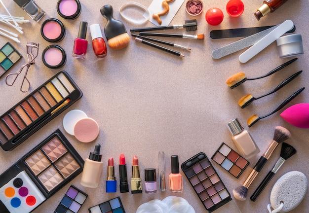 Cosmetics makeup lipstick eye shadows Premium Photo