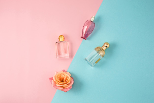 Cosmetics on modern colorful background Free Photo