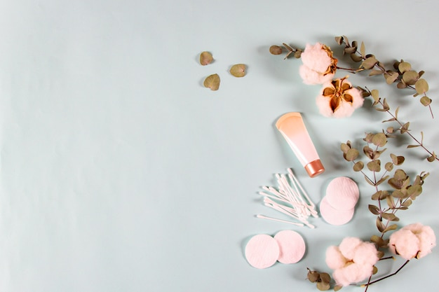 Cosmetics Spa Products Cream Jar Eucalyptus Leaves Cotton Flowers Pads Ear Sticks On Light Background Natural Organic Skincare Beauty Product In Minimal Banner Flat Lay Top View Copy Space Premium Photo
