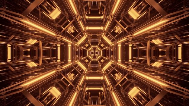 黒と金色のレーザー光で宇宙背景 無料写真