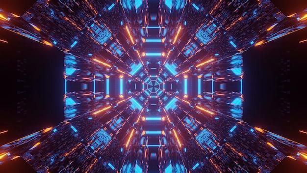青とオレンジ色のレーザー光で宇宙背景 無料写真