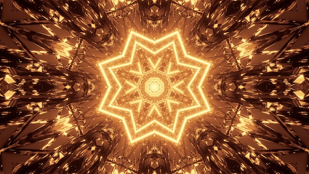 Cosmic background with brown and yellow laser lights patterns - perfect for a digital wallpaper Free Photo