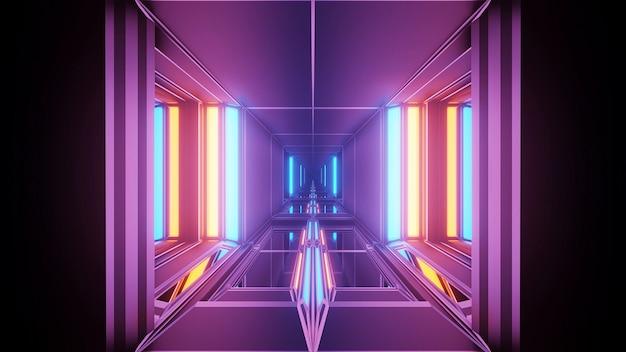 カラフルな幾何学的なレーザー光と宇宙背景 無料写真