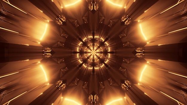 金色のレーザー光で宇宙背景放射 無料写真