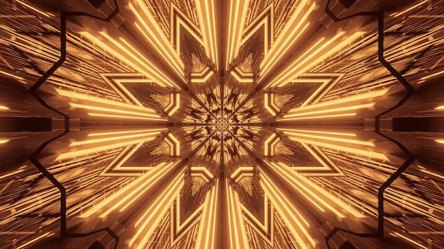 황금 네온 레이저 조명으로 우주 배경-디지털 배경에 적합 무료 사진