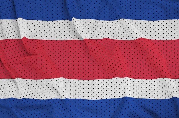 Costa rica flag printed on a polyester nylon sportswear mesh fabric Premium Photo