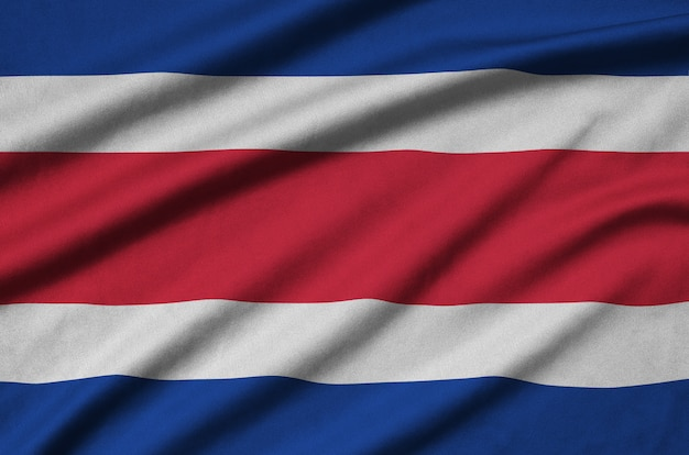 Costa rica flag with many folds. Premium Photo
