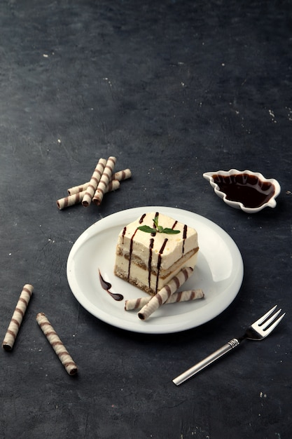 Cottage cheese cheesecake with chocolate sauce Free Photo