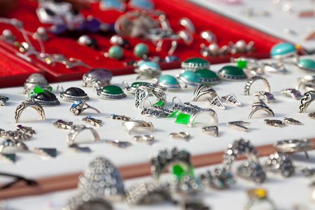 Counter with  jewelry Free Photo