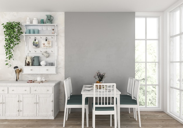 Premium Photo Country Kitchen With Blank Wall Artwork Background