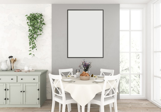 Country kitchen with empty vertical frame Premium Photo