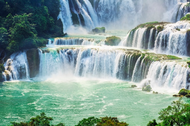 countryside forest cascade summer green famous photo free download