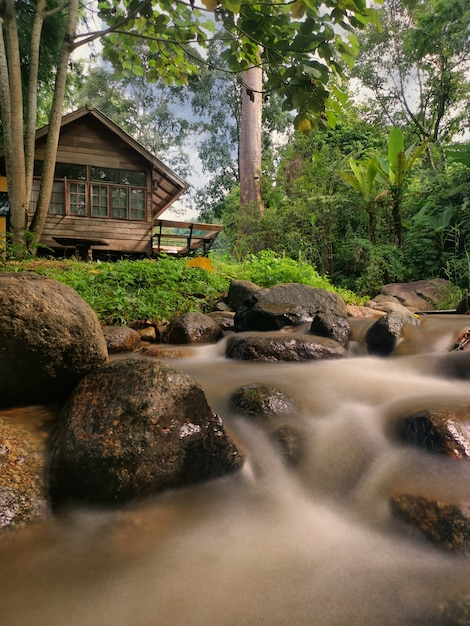 Countryside house with the stream in chiang mai, thailand. Premium Photo
