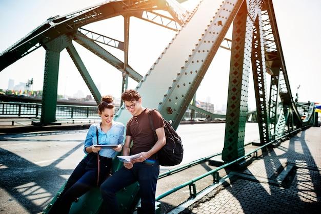 Couple bridge hangout traveling map concept Photo   Premium Download