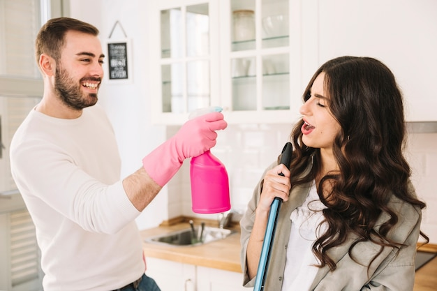 Image result for couple cleaning together