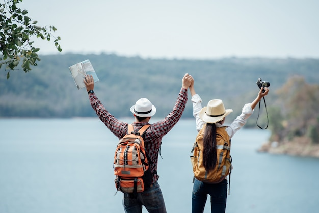 Couple family traveling together Free Photo