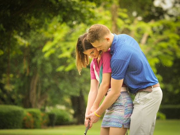 Couple golf concept Premium Photo