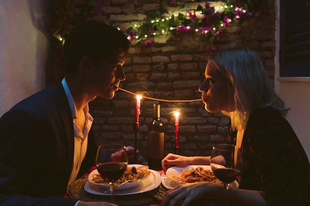 Couple having dinner on valentines day Free Photo