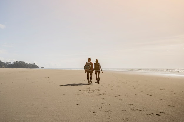 Couple holding hands and walking on beach Free Photo