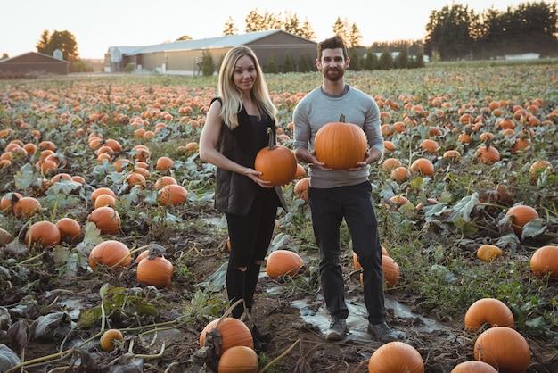 Couple holding pumpkin in pumpkin field Free Photo
