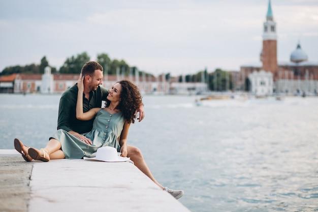 Couple on honeymoon in venice Free Photo