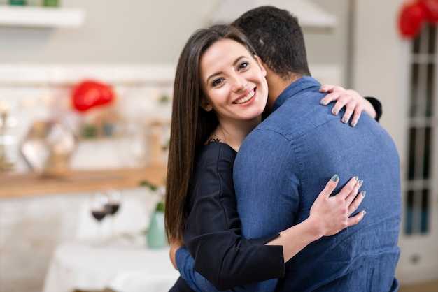 Couple hugging with copy space Free Photo
