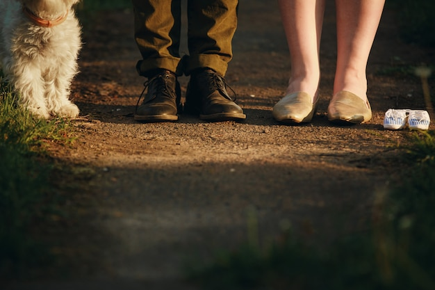 Couple is on a walk in the park with their dog Premium Photo