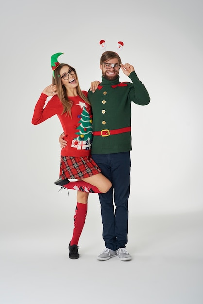 Couple in love in christmas clothes Free Photo