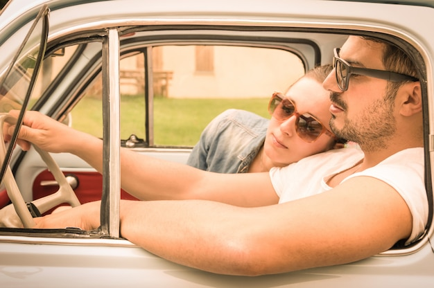 Couple in love relaxing at car trip Premium Photo