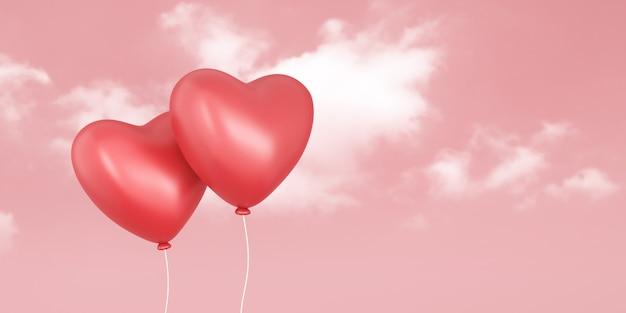발렌타인 데이 축제와 사랑 하늘과 분홍색 배경에 빨간 풍선의 커플. 로맨틱 하트 프리미엄 사진