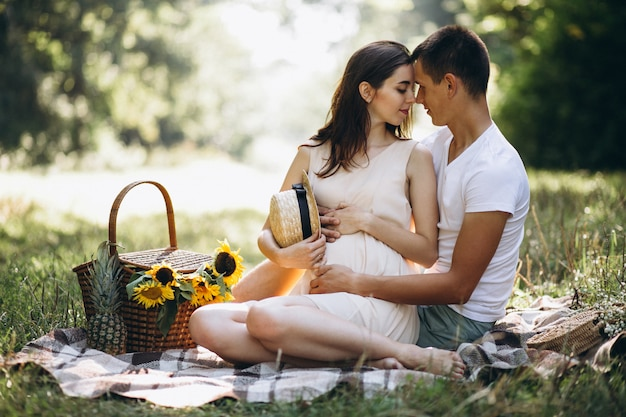 Couple pregnant, having picnic in park Free Photo