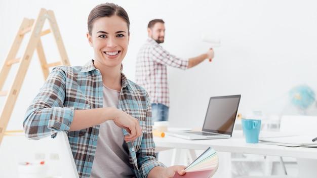 Couple renovating their house Premium Photo