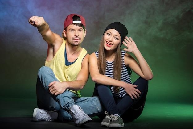 Couple of smiling dancers. Premium Photo